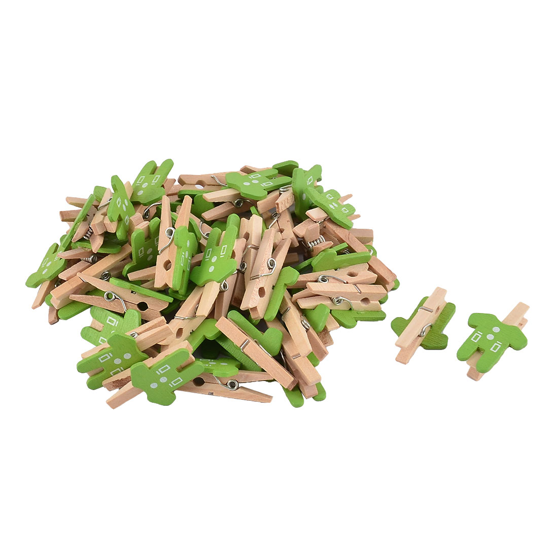 Card Photo Clothes Shape Crafts Spring Pegs Mini Wooden Clip Green 50pcs - image 2 of 2