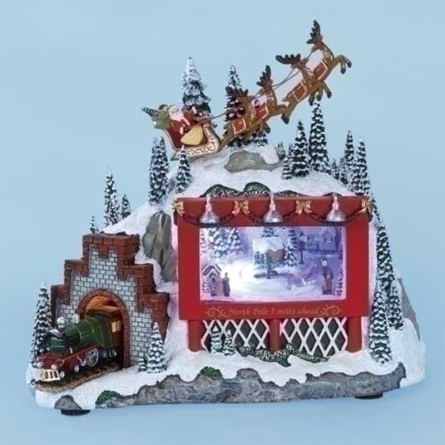 "8.25"" Amusements Lighted Musical Animated Santa, Billboard and Train Christmas Scene Decoration"