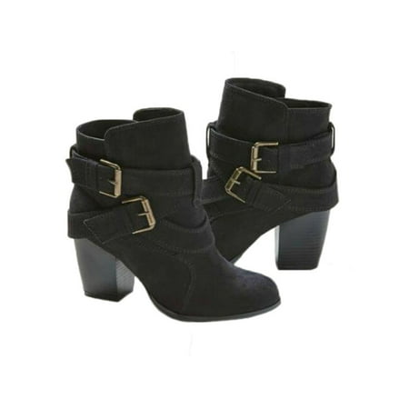 Women's Block High Heel Short Ankle Boots Casual Buckle Martin Booties