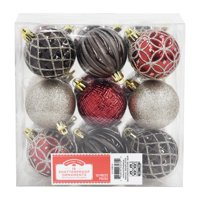 Holiday Time Shatterproof Ornaments, Red, Silver & Black, 18 Count