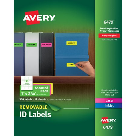 avery 6479 removable self adhesive color coding labels assorted neon 1 - Avery Colored Labels