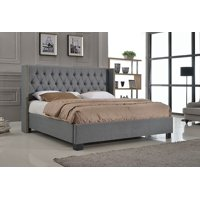 Queen Size Platform Bed with Button Tufted Footboard Gray
