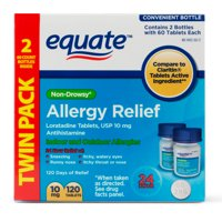 Equate Non-Drowsy Allergy Relief Loratadine Tablets, 2x60 Ct