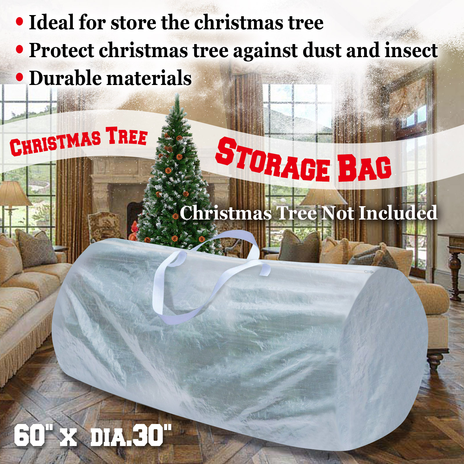 Strong Camel Heavy Duty Large Artificial Christmas Tree Storage Bag WHITE  COLOR For Clean Up Holiday