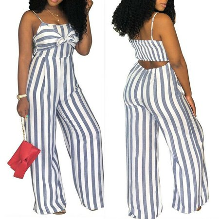 Sexy Women Ladies Striped Clubwear Playsuit Sleeveless Bodycon Party Jumpsuit Romper Long