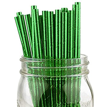 Just Artifacts 100pcs Solid Metallic Green Paper Straws - Great for Weddings and Birthday Parties