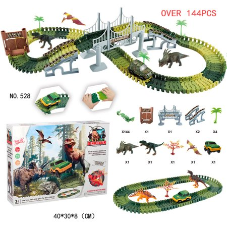 Racing Sound Effects - Simulate Dinosaur Track Racing Car Set Assembly Blocks Sound Light Effect Kids Toy Gift Color:528 Dinosaur Track (144PCS)