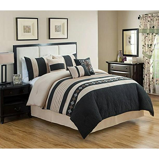 HGMart Bedding Comforter Set Bed In A Bag - 14 Piece Luxury Embroidery  Microfiber Bedding Sets - 14% Polyester Bedroom Comforters, Black, Queen