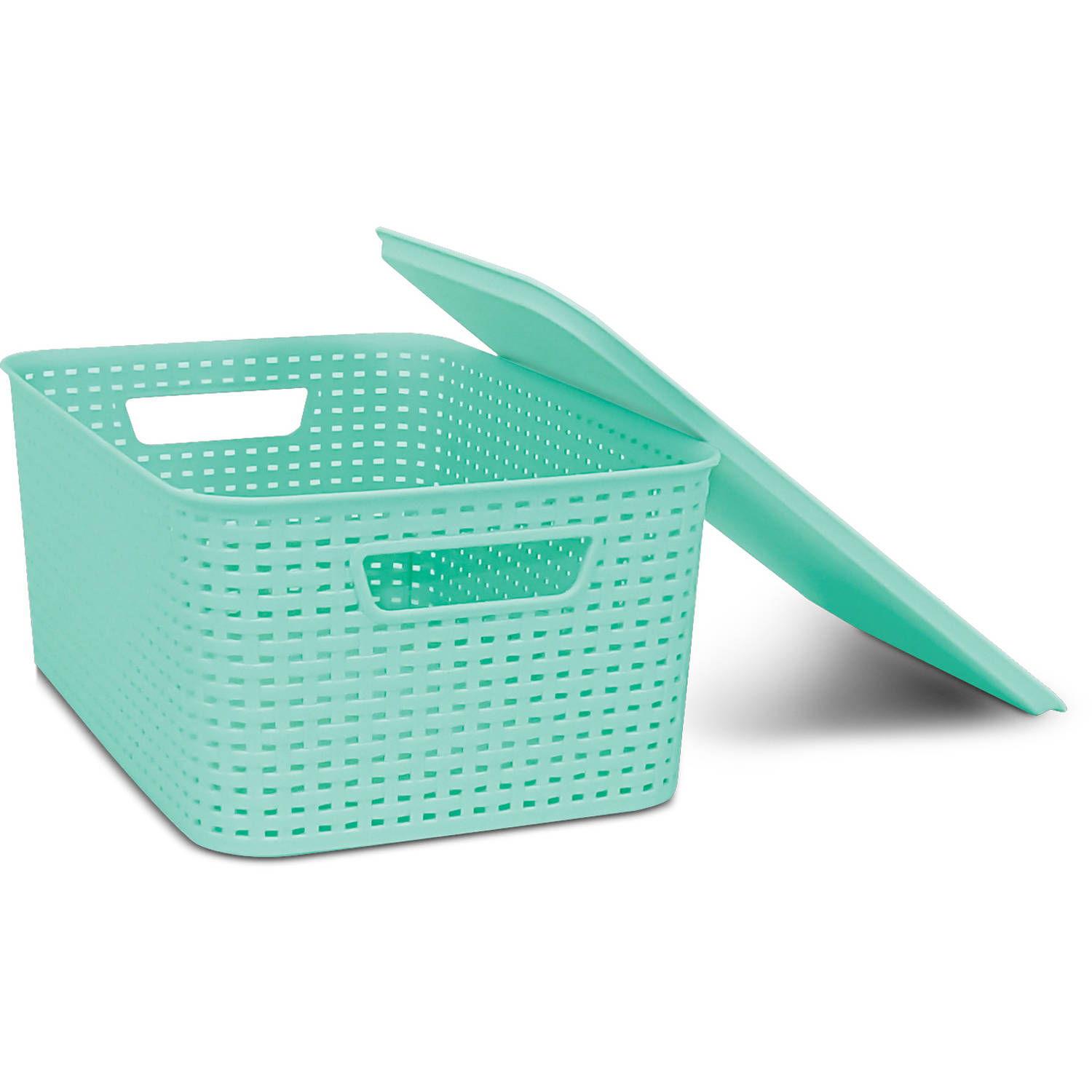 Homz Plastic Wicker Storage Boxes With Lid, Large   Walmart.com