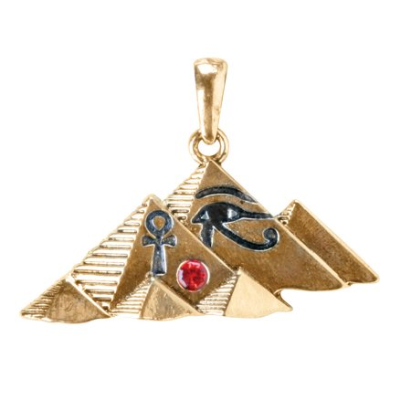 1.58 Inch Gemmed Egyptian Pyramid Charm Pendant, Gold Colored