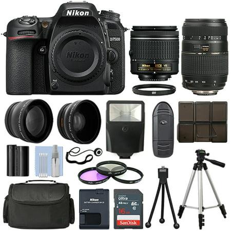 Nikon D7500 DSLR Camera + 4 Lens Kit 18-55mm VR + 70-300mm + 16GB Top Value Kit