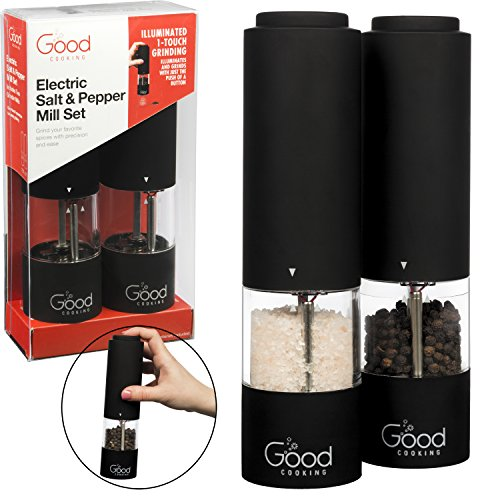 Electric Pepper Grinder and Salt Mill 2 Pack- One Touch Automatic Spice Dispensers w LED Light- Batteries Included