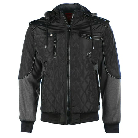 Mens Winter Coat Quilted Puffer Jacket Removable Hood 9 Crowns