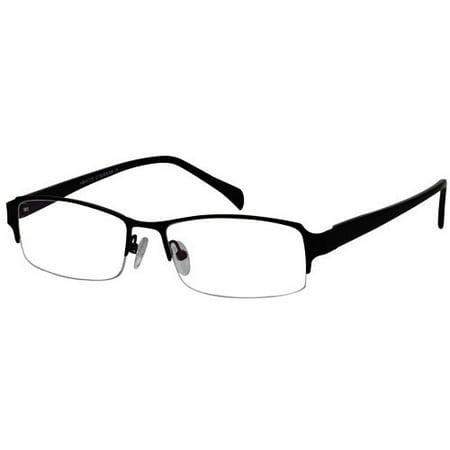 Ebe Men Black Rectangle Half Rim Regular Hinge Eyewear Reading Glasses (Eyewear Reading Glasses)