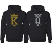 King Queen Classic Cards Logo Funny His and Hers Matching Couples Hoodies Sweater Set, Black, Mens S-Womens S