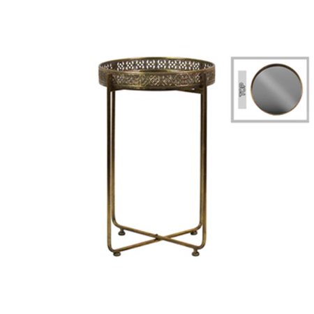 19.5 x 32.25 x 19.5 in. Metal Tall Round Accent Table with Mirror Top with Pierced Metal Sides & 4 Straight Legs on Pedestal Base - Metallic Finish, Antique Gold