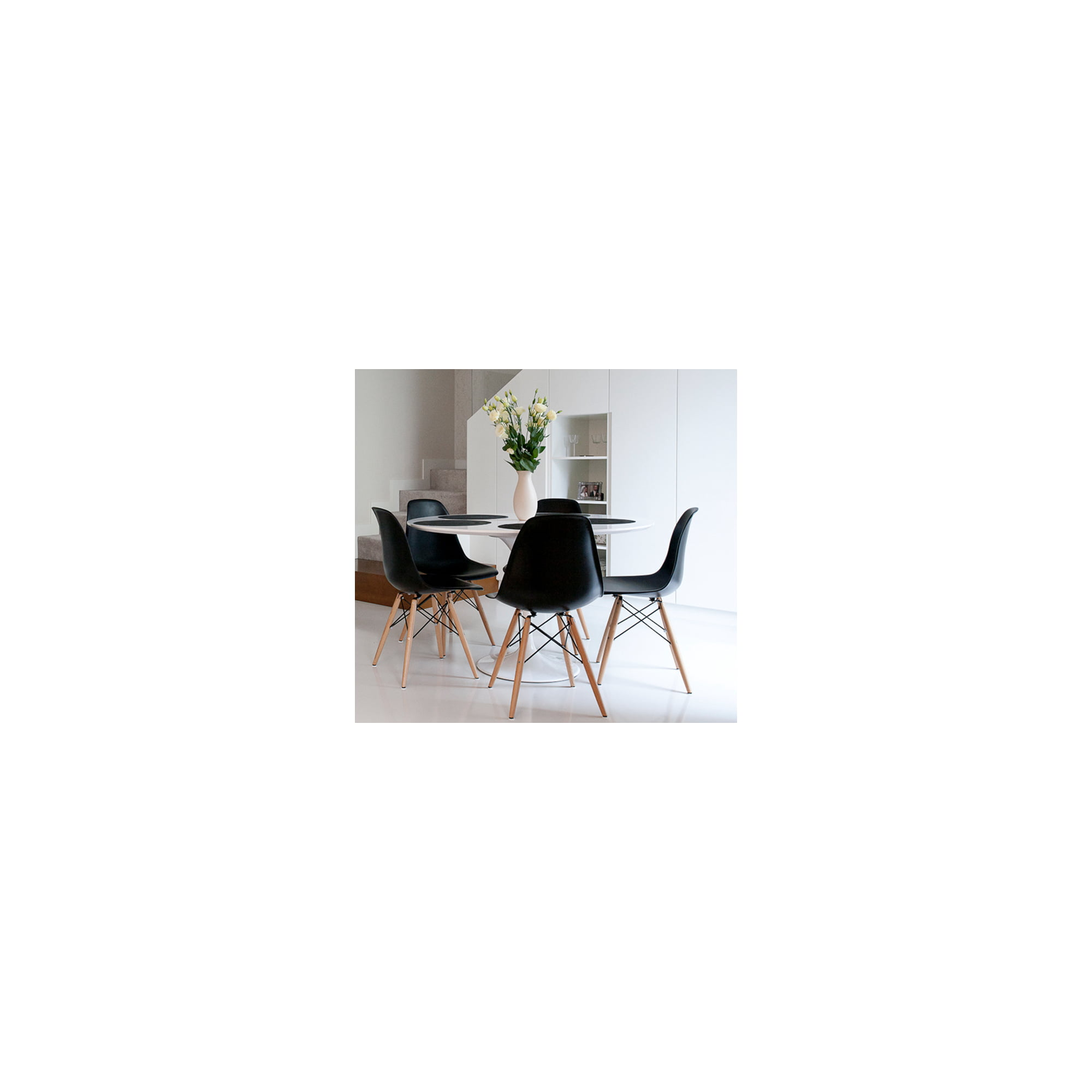 Set of Six (12) Eames Style Side Chair with Natural Wood Legs Eiffel Dining  Room Chair Office Chair (GRAY)