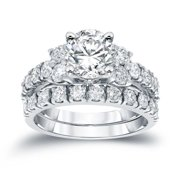 Auriya  Classic 2ctw Round Diamond Engagement Ring Set 14k White Gold