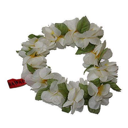 Yellow and White Plumeria Hawaii Elastic Haku Headband leis
