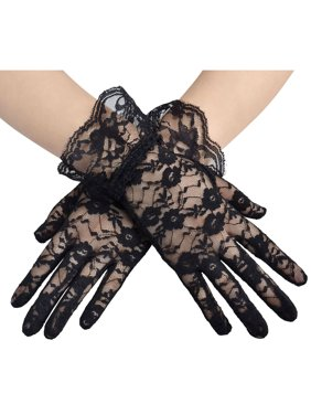 6731673ca Product Image Simplicity Sheer Lace Floral Tulle Bridal Wedding Gloves w/  Wrist Ruffle, Black