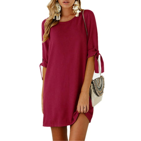 Womens Adjustable Long Sleeve O Neck Casual Mini Dresses