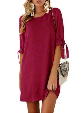 Womens Adjustable Long Sleeve O Neck Casual Mini Dresses