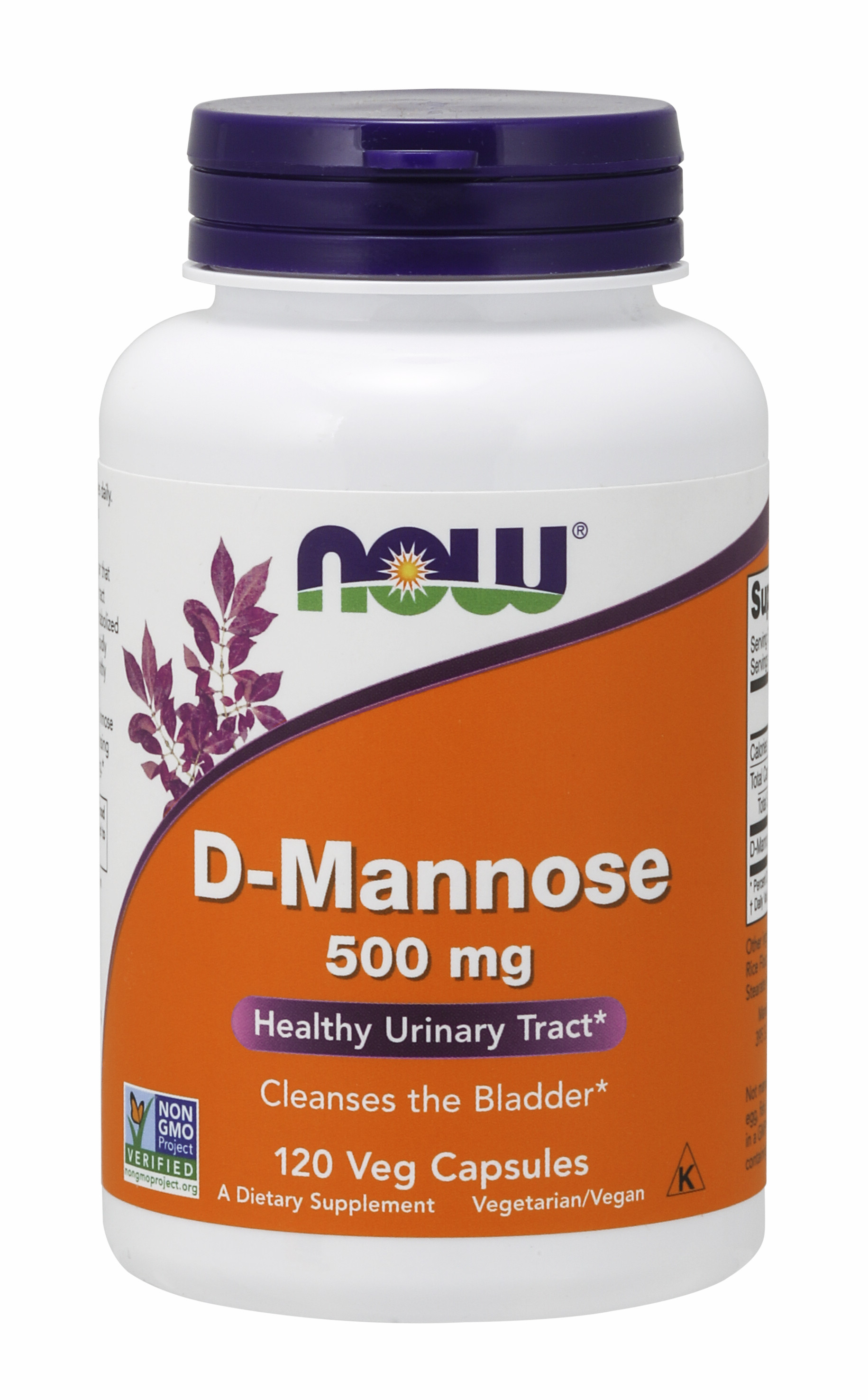 NOW Supplements, Certified Non-GMO, D-Mannose 500 mg, 120 Veg Capsules