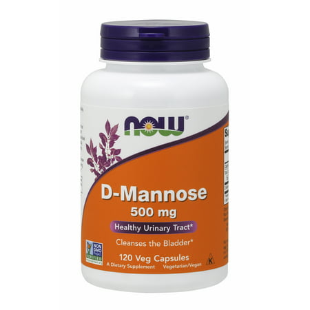 NOW Supplements, Certified Non-GMO, D-Mannose 500 mg, 120 Veg Capsules 100 Mg 120 Gels