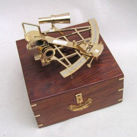 Woodland Imports Sextant Brass with Wood Decorative Case All Time Nautical Gift