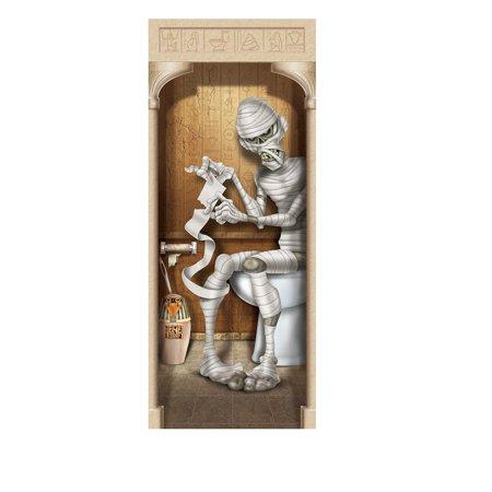 Club Pack of 12 Halloween Brown Mummy Restroom Door Cover Decoration - Cruise Door Decoration Ideas