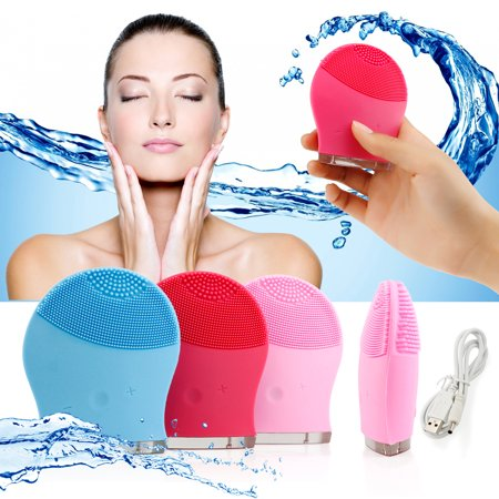 - Waterproof Facial Cleansing Brush Electric Soft Silicone face Skin washing machine Cleanser Massager Exfoliator - Blue