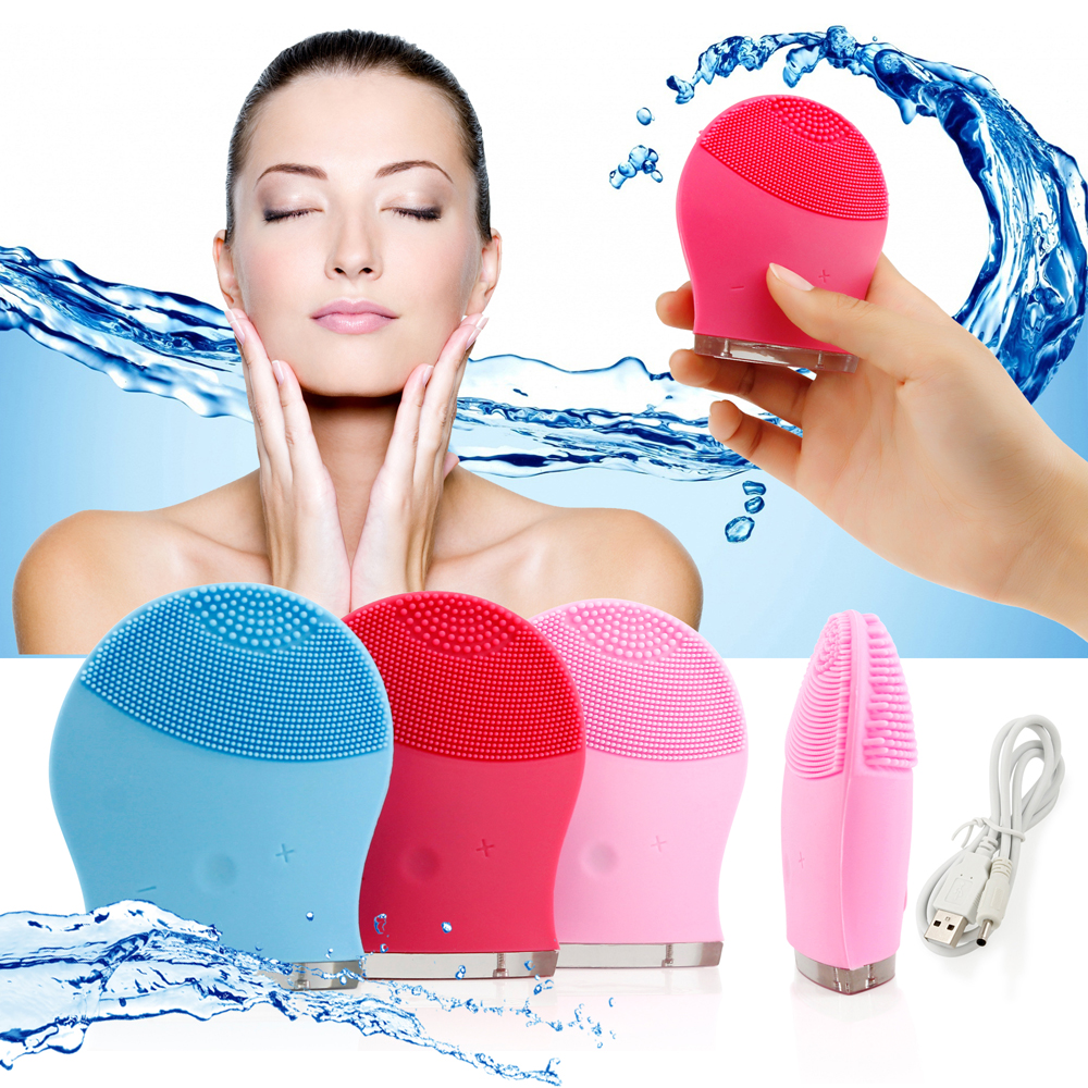 Waterproof Facial Cleansing Brush Electric Soft Silicone face Skin washing machine Cleanser Massager Exfoliator - Blue