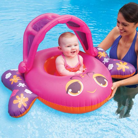 Swim Ways Sun Canopy Baby Boat Infant Pool Float Pink Fish