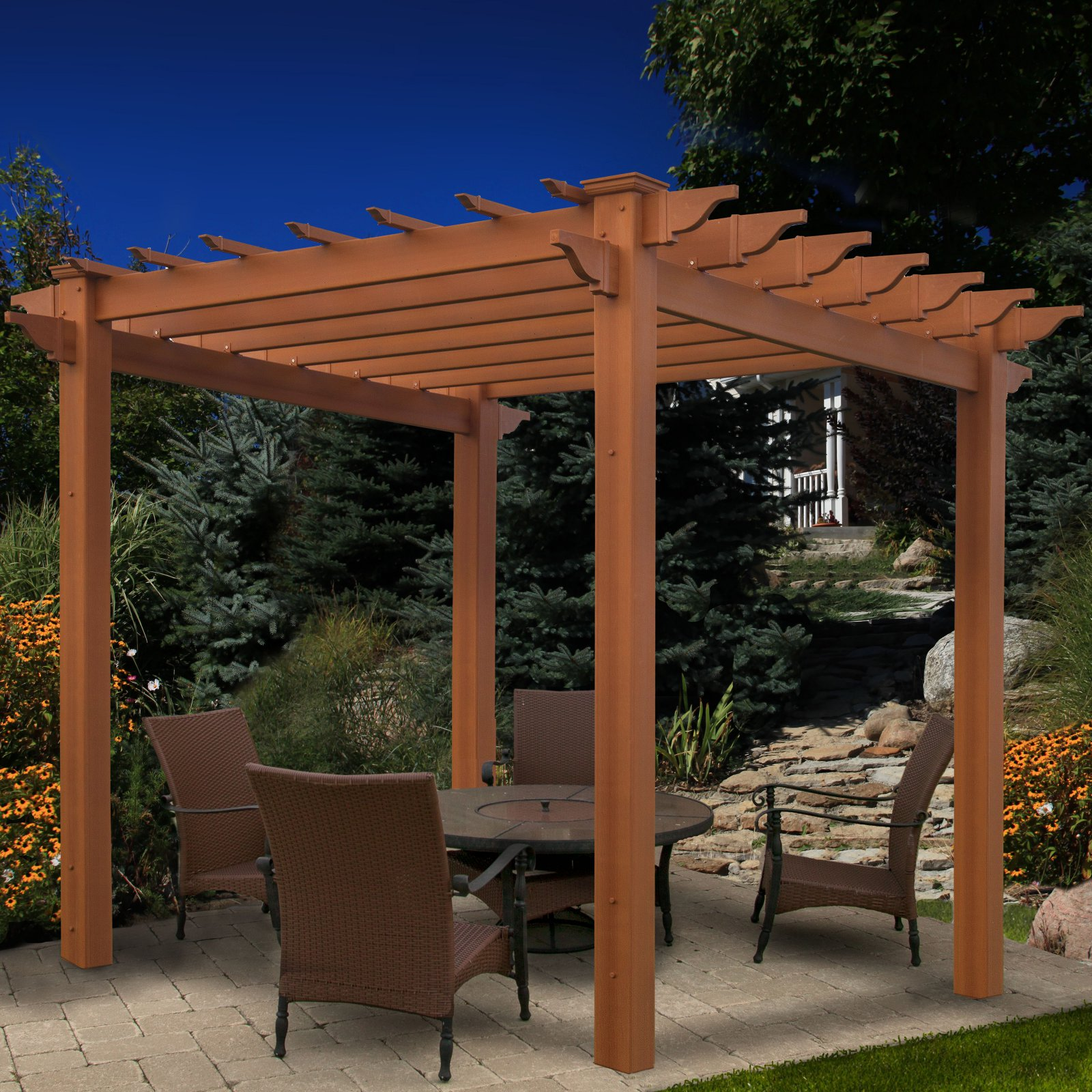 New England Arbors Lakewood 7.25 ft. Vinyl Pergola by New England Arbors