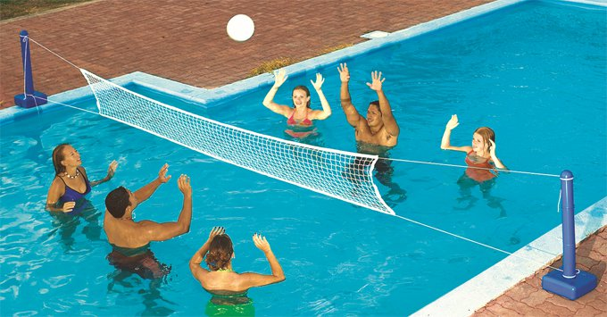 Swimline 9186 Cross Inground Swimming Pool Fun Volleyball Net Game Water Set by Swimline