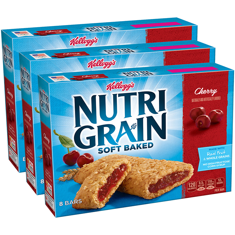 (3 Pack) Kellogg's Nutri-Grain Soft Baked Cherry Breakfast Bars 8-1.3 oz. Wrappers