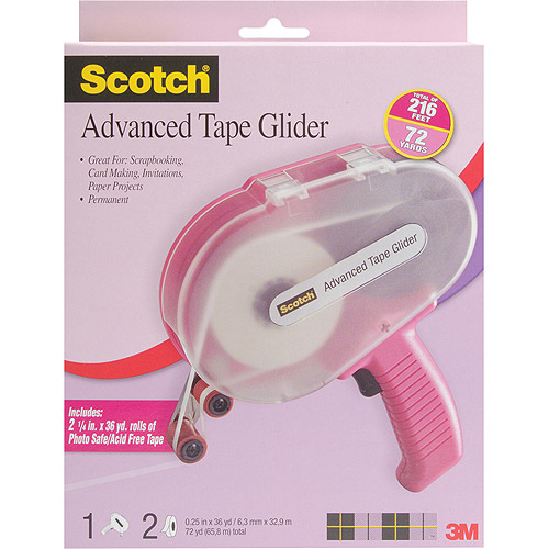 "3M Scotch Advanced Tape Glider & Tape, Pink, Two Rolls .25"" x 36yds"