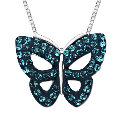Luminesse Sterling Silver Butterfly Pendant with Blue Swarovski Elements