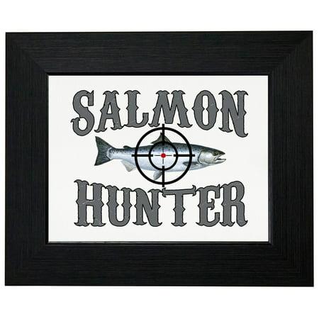 Salmon Hunter - Bullseye on Fish - Fishing Framed Print Poster Wall or Desk Mount Options Salmon Fish Wall
