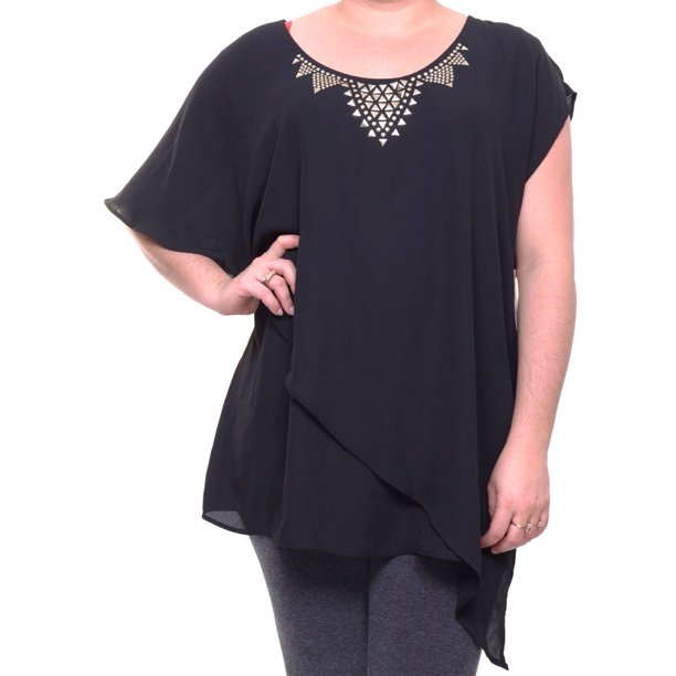NY Collection Black Top Blouse Short Sleeve Size XL NWT - Movaz