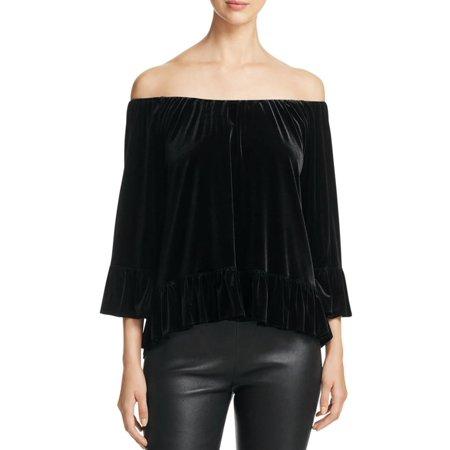 Sanctuary Womens Velvet Ruffled Casual Top Velvet Casual Shirt