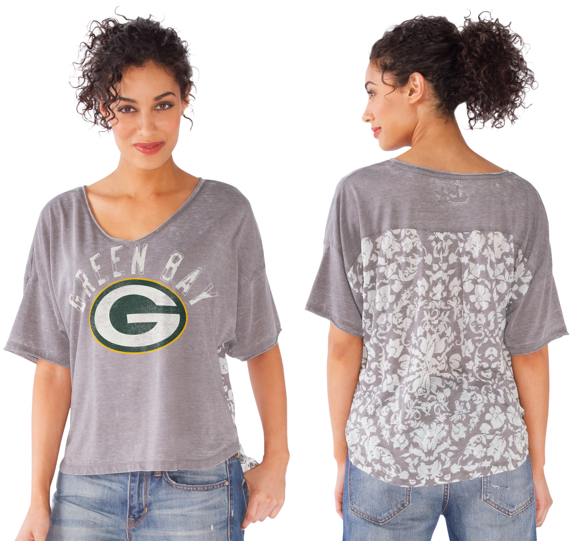 Green Bay Packers Women's Gray Maverick Tee
