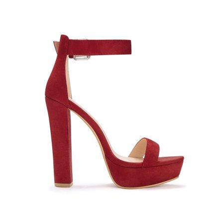 08c6a3e6227 Unique Bargains Women s Ankle Strap Platform Chunky Heel Sandals Black (Size  9.5)