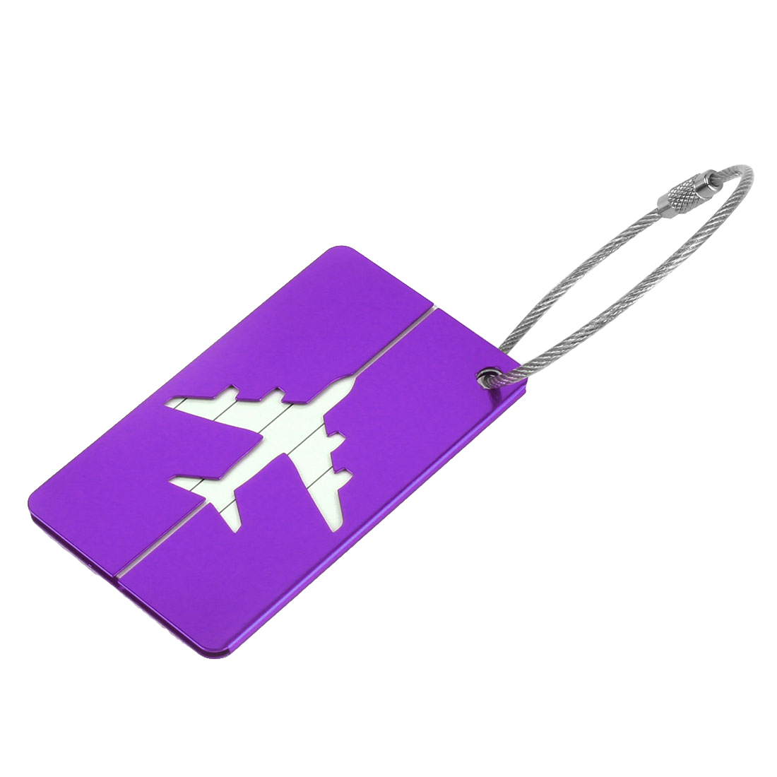 Suitcase Aluminium Rctangle Name Address Telephone Message Luggage Tag Purple