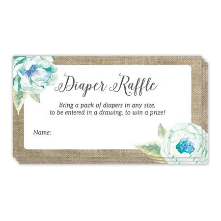 Digibuddha Diaper Raffle Game Tickets 48 Pack Rustic Baby Shower Mommy to Be Infant Newborn Boy Gender Guest Invitation Inserts Blue Floral Name Tag Cards Prize Drawing 3.5 x 2