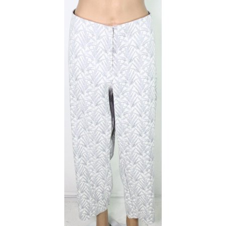 Womens Pants Gray Plus Capris Cropped Stretch High Waist $84 22W