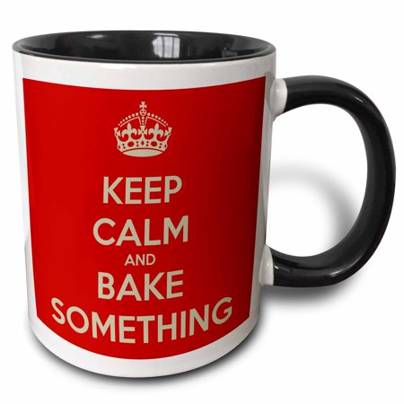 3dRose Keep calm and bake something - Two Tone Black Mug, 11-ounce