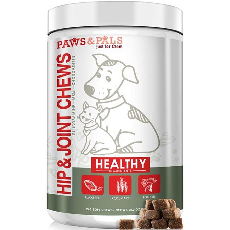 Paws & Pals Glucosamine Chondroitin Hip Joint - 240ct Supplement for Pet, Dogs and Cat Advanced Level 2 Formula All Natural Soft Chews,