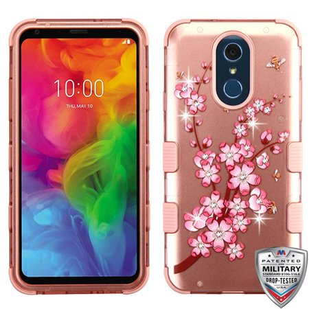 MYBAT Spring Flowers (2D Rose Gold)/Rose Gold TUFF Hybrid Phone Protector Cover (w/ Diamonds) for Q7+,Q7 - image 1 of 1