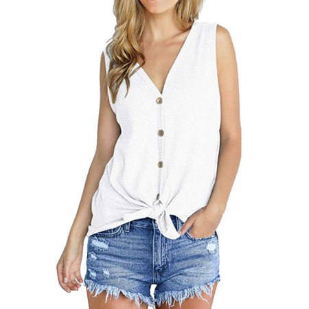 Fysho Womens Summer Tie Knot Henley Tops Waffle Knit Tunic Blouse Loose Fitting Plain Shirts Vest (Loose Fitting)